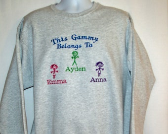 Gammy Sweatshirt, Custom Grandparent Gift, Personalize With Three Kids Names, Nannie, Grandma, Nonna, Grammy, Mimi No Shipping Fee, AGFT 942