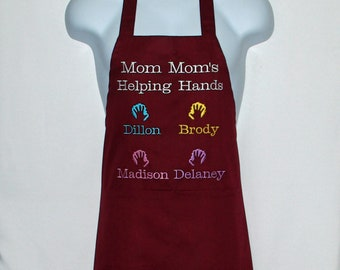 MomMom Apron, Helping Hands, Custom Grandparent Gift, Personalize With Grandkids Names, Mammy,  Mamaw, Gigi, Gaga, Ships Today, AGFT 1342