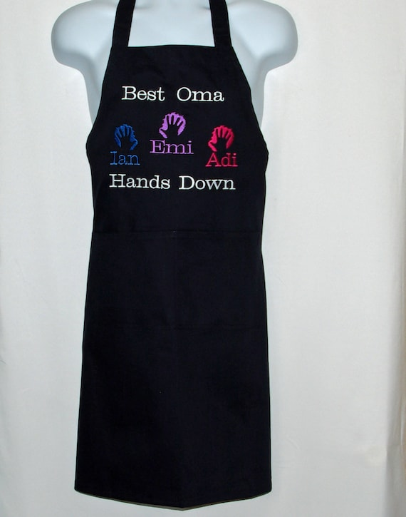 Oma Apron, Best Hands Down, Custom Personalize With Three Grandkids Names
