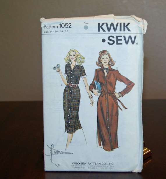 Kwik Sew Pattern 1052 Shirtwaist Dress Free Shipping Etsy