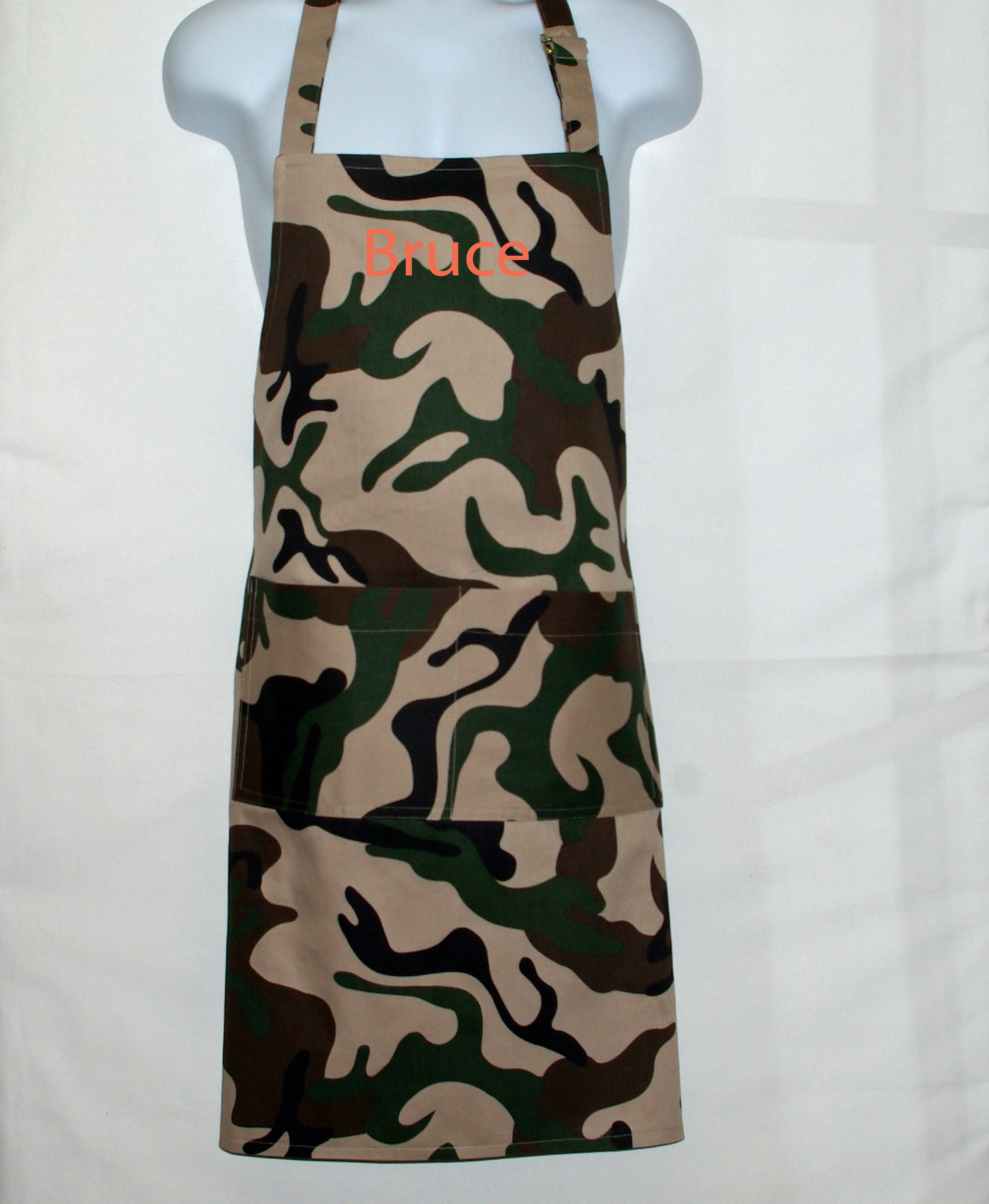 Camouflage Camo Apron Men BBQ Grill Tailgate Dad Military