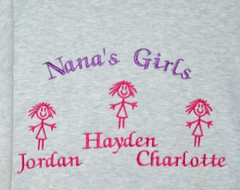 Nana's Girls Sweatshirt, Custom Grandparent Gift, Personalize With Three Name, Nanny, Granny, Grandpa, Oma, Gammy, No Shipping Fee, AGFT 026