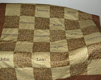 Family Tree Quilt, Custom Grandparent Gift, Personalized Throw With 17 Grandkids Names, Family Surname, No Shipping Fee, AGFT 657