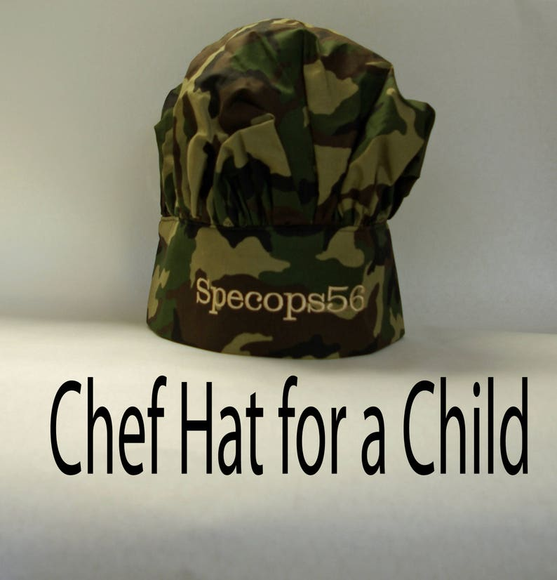 70715fb67318 Camouflage Chef Hat Kids Camo Cooking Hat Personalized With
