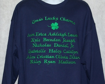 Gma Sweatshirt, Custom Personalize Grandparent Gift, With 22 Grandkids Name, Granny, Grammie, Gaga, Nannie, Nonna, No Shipping Fee, AGFT 776