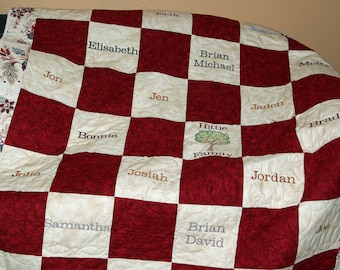 Family Tree Quilt, Custom Grandparent Gift, Personalized Throw With 25 Grandkids Names, Family Surname, No Shipping Fee, AGFT 1027