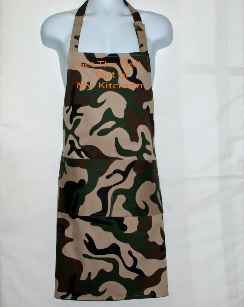 ae7686ff3b21 Camouflage Camo Apron Men Get The Hell Out of Kitchen Custom