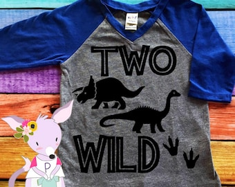 Two Wild Dinosaur 2nd Birthday Shirt Baseball Style Boys Raglan Boy Second