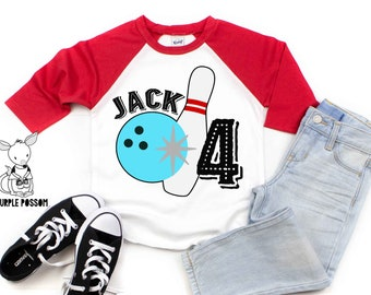 Bowling Birthday Shirt Any Age And Name Party Tshirt Kids Number