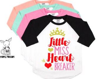 c3f4188b Little Miss Heart Breaker Valentines Shirt Valentine's Shirt Girls Miss  Heart Breaker Shirt Little Miss Valentine's Shirt