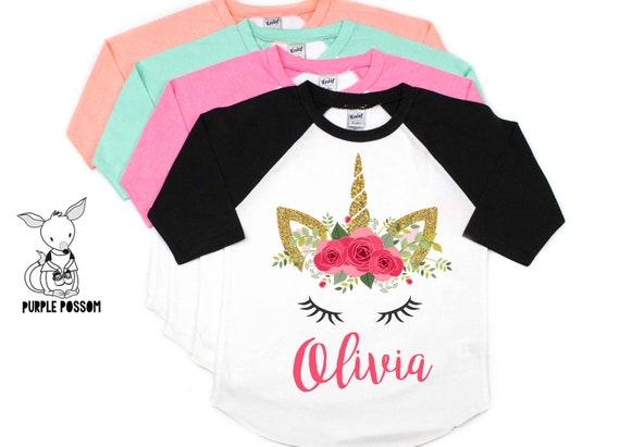 Unicorn Birthday Shirt Personalized Floral