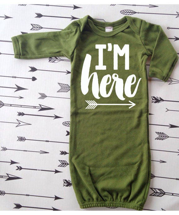 Infant Sleeper Gown I\'m Here Hospital Outfit Newborn Take | Etsy