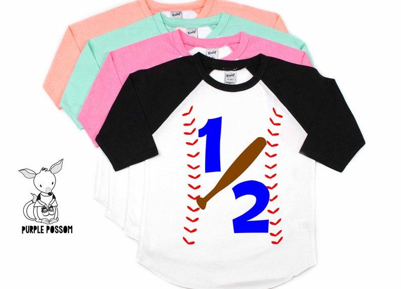 Half Birthday Shirt Baseball 1 2 Boys 6 Month