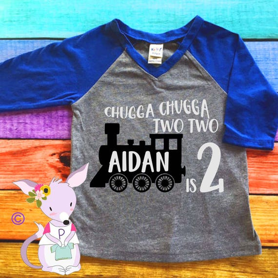 Chugga Two Kids Birthday Shirt Train