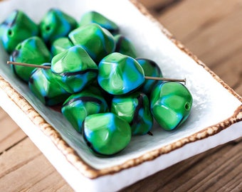 Vintage Nuggets Beads Kelly Green Black and Blue Geometric Nuggets Glass Beads 14mm