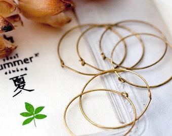 Earwires Vintage Ear Hoops Aged Brass Wire Hoop Earrings Findings Brass Wire Ear Hoops