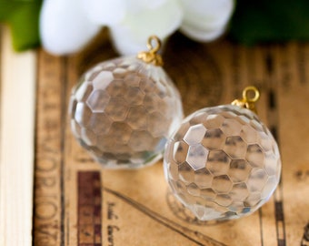 Crystal ball pendant etsy large vintage beads faceted round crystal disco ball acrylic pendant drop charm beads or earring components with embedded wire aloadofball Image collections