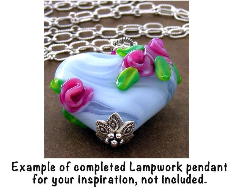 SRA Floral Lampwork Artisan Pink Rose Pendant Focal Glass Bead and Freshwater Pearls DIY OOAK Pendant Necklace Jewelry Kit