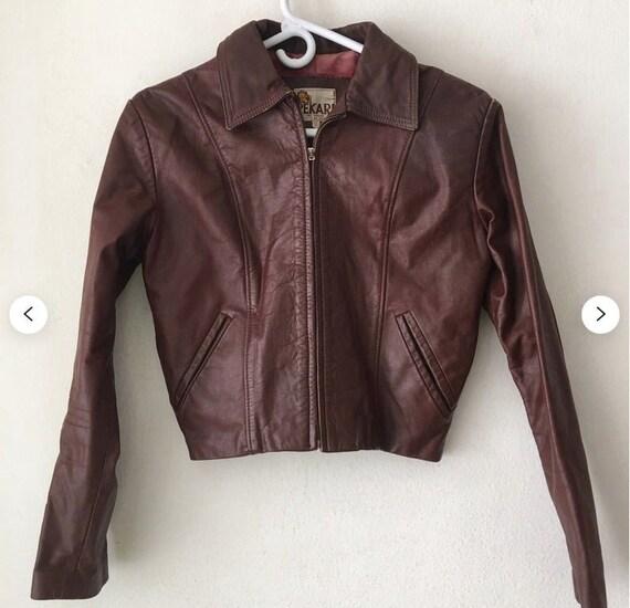SALE Vintage 70s does 40s brown genuine leather ja