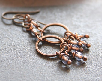 Blue and Copper Dangle Hoop Earrings, Czech Glass Copper Earrings