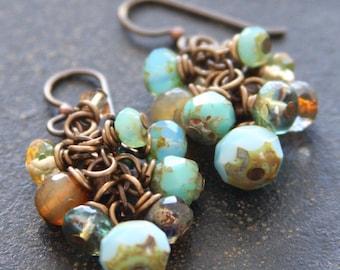 Blue Czech Glass Cluster Earrings