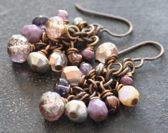 Purple Czech Glass Cluster Earrings