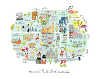 Montreal Mile End Essentials Map illustration - illustrated Montreal map 11x14 standard framing size
