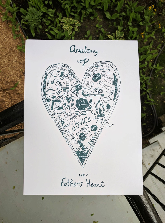 Fathers Heart Silkscreen Print Heart Dad Father Standard Etsy