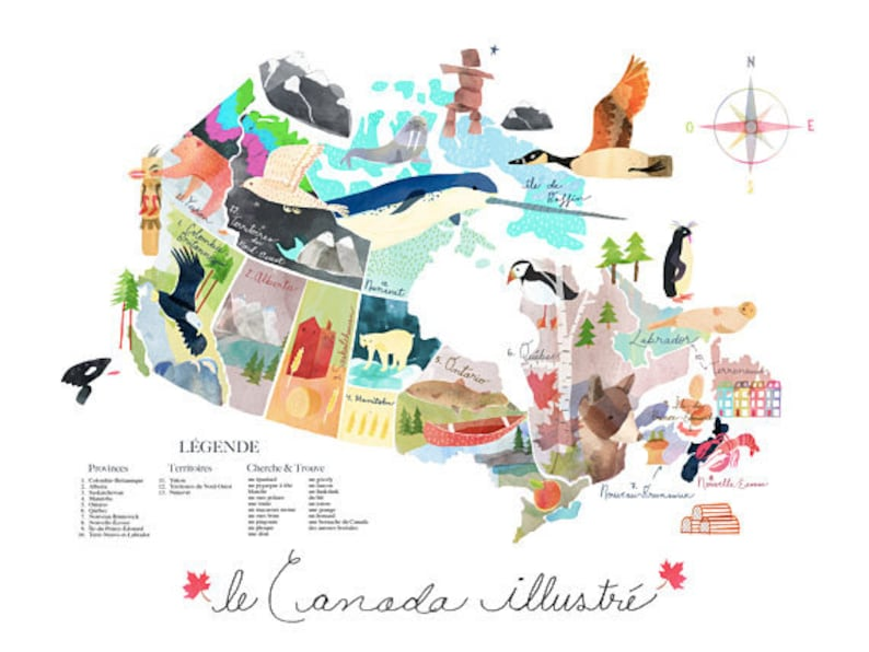 French Map Of Canada.Map Of Canada French Francais Illustration Poster Affiche 16 Etsy