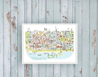Toronto Map illustration - illustrated Toronto  map 11x14 or 16x20 standard framing size