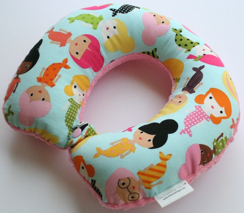 Toddler/Child Travel Neck Pillow  Mermaids Reversible w/ image 0