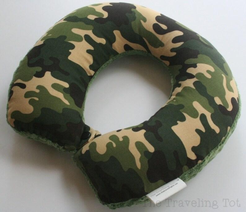 Toddler/Child Travel Neck Pillow  Woodland Camo Reversible image 0