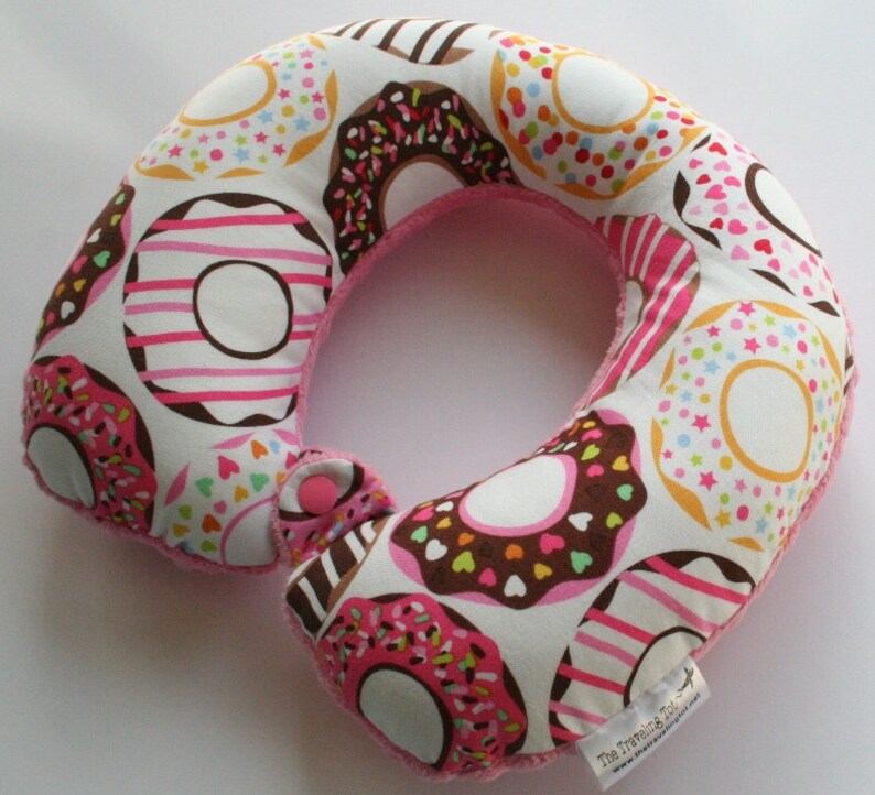 Toddler/Child Travel Neck Pillow  Donuts Reversible w/ Minky image 0