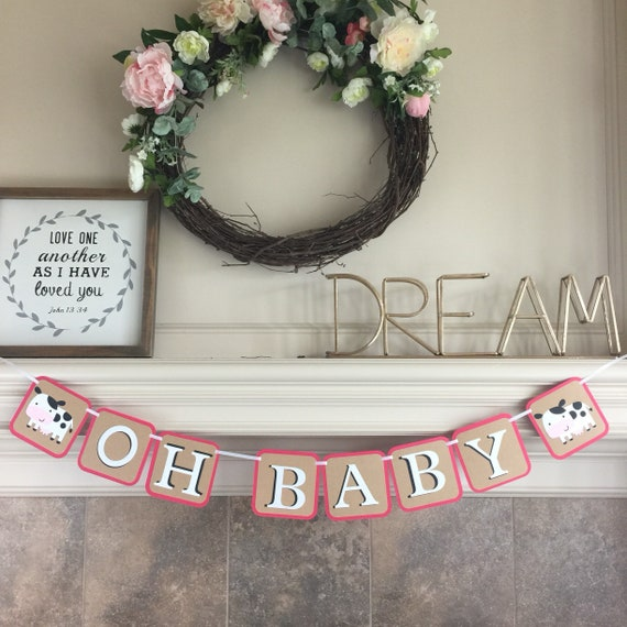 Farm Baby Shower Banner Oh Baby Banner Barnyard Etsy