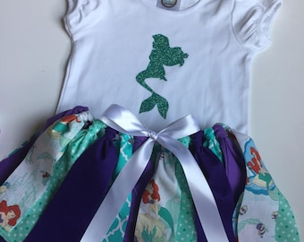 Little Girl Outfit - The Little Mermaid Tutu - Ariel Shirt - The Little Mermaid Outfit - Ariel Party -  Little Mermaid Birthday - Ariel Tutu
