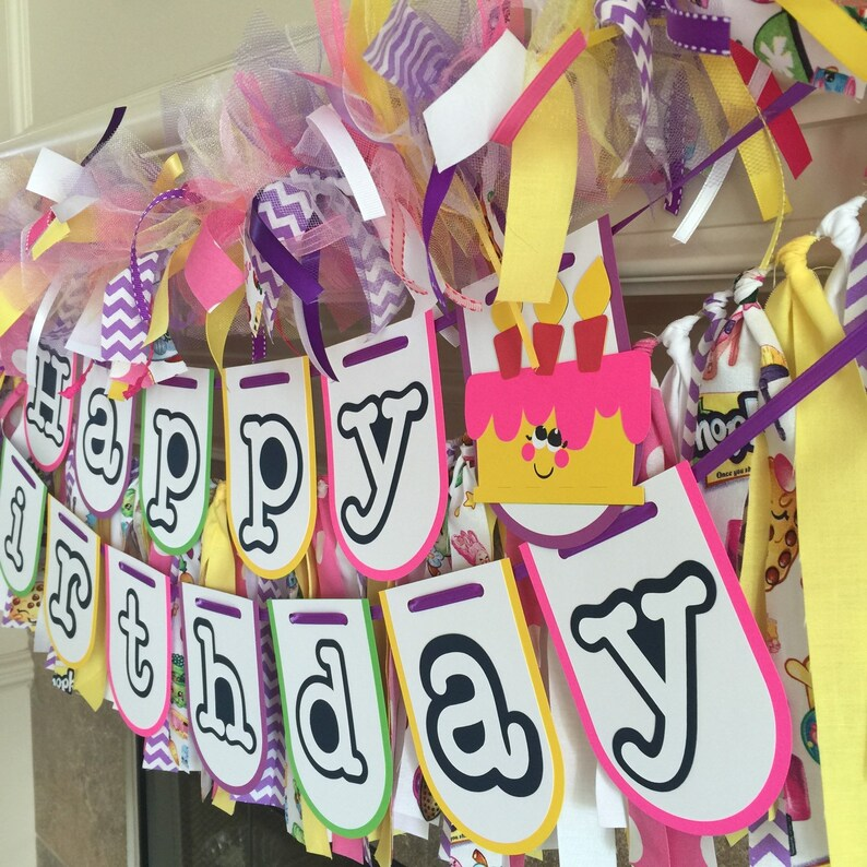 Shopkins Party Decorations Shopkins Birthday Garland -Ready To Ship Shopkins Birthday Banner Shopkins Photo Prop