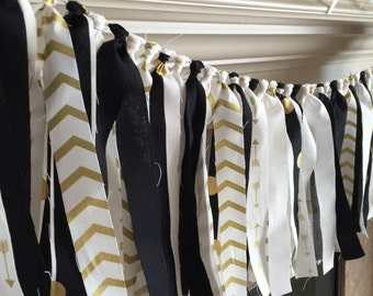 Gold and Black Fabric Banner - Graduation Party Decorations - Graduation Party Supplies - Gold Party Decor - Gold Fabric Banner - 2018