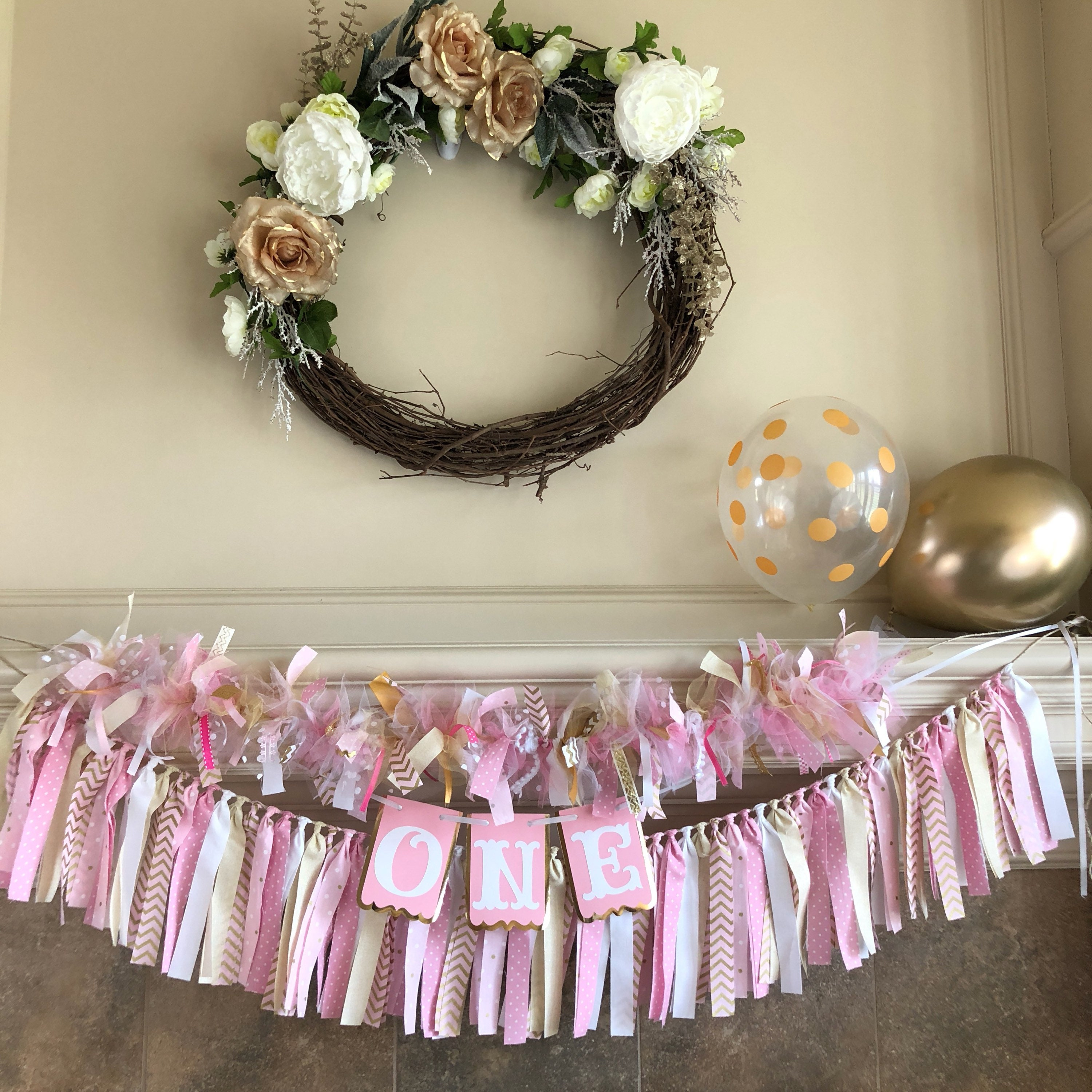 Pink And Gold First Birthday Decorations Fabric Banner