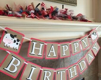 Western Birthday Party Decor - Barnyard Party Banner - Barnyard Birthday Banner- Farm Birthday Party - Cowboy Birthday Banner -Western Party