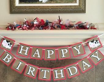 Country Barnyard Birthday Banner - Farm Party Decorations - Farm Birthday Party - Happy Birthday Banner- Barnyard Party, Cowboy Cowgirl