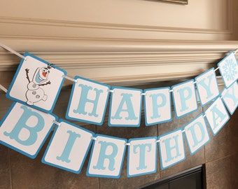 Disney Olaf Banner - Olaf Birthday Decorations - Frozen Party Decorations -