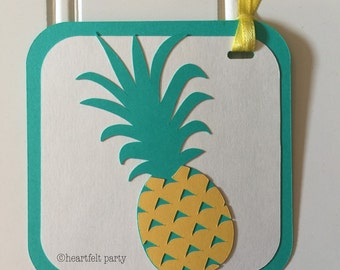 Pineapple Gift Tags - Tropical Fruit Party Decorations Favor Treat Tags