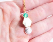 HEX Necklace: Chrysophrase + Marble