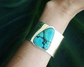 ARCHER Cuff Brass Turquoise // Pick your stone