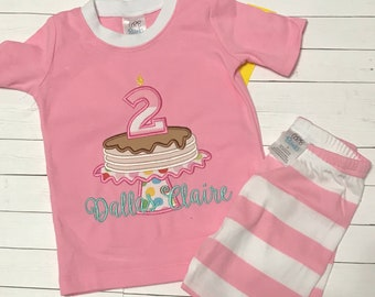 Birthday Pajamas- Pancake Pajamas- Kids Pajamas- Pancake PJS- Birthday PJS- Personalized  PJS 8058347cb