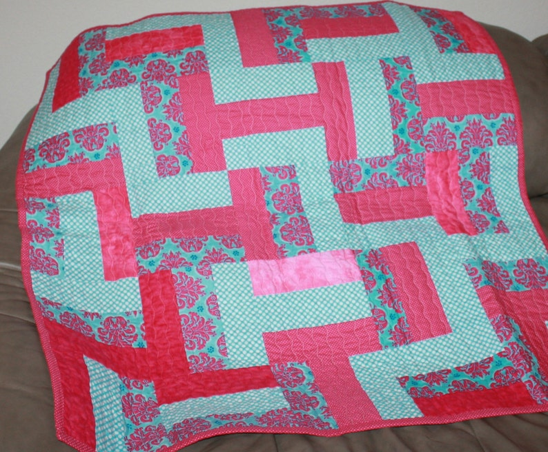 Pink Baby Quilt Baby Blanket Baby Quilt Pink and Teal Blanket Girls Baby Quilt Baby Blankets blankets Quilts