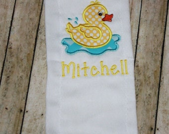 Baby Burp Cloths, Burp Cloths, Boy Burp Cloth, Girl Burp, Embroidered Burp Cloth, Personalized Burp Cloth, Monogrammed Burp Cloth-Duck