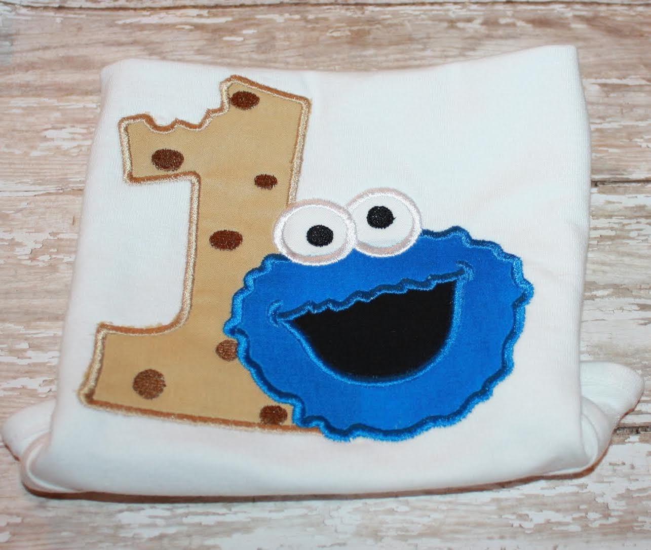 Cookie Monster Birthday Shirt-Cookie Shirt-1st Birthday
