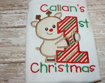 First Christmas Onesie, First Christmas Shirt- Christmas Shirt, Reindeer Shirt, Personalized Shirt