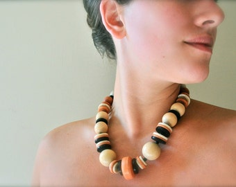 Vintage boho tribal statement necklace - bohemian beach wood jewelry